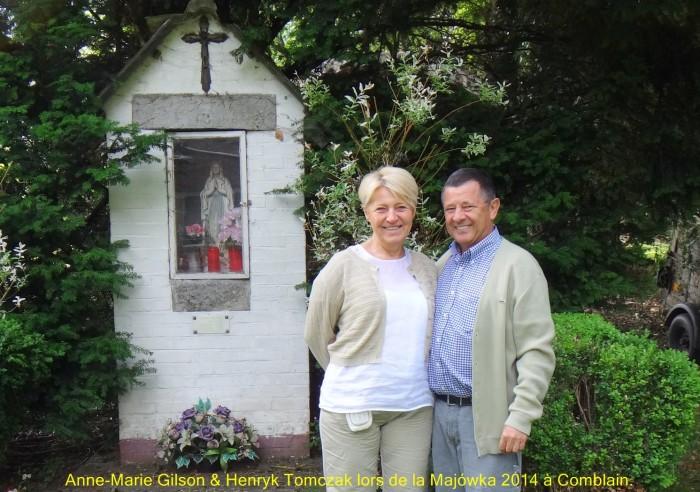 0091 : COMBLAIN-LA-TOUR – 2014 : Devant la petite chapelle : Anne-Marie Gilson ; Henryk Tomczak.